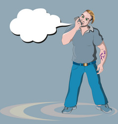 a man crying into the phone vector image