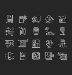 Air conditioning chalk white icons set on black vector