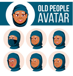 arab muslim old woman avatar set face vector image