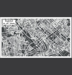 baghdad iraq city map in retro style vector image