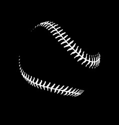 Baseball white stitches only on black background vector