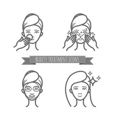 beauty treatment icons face care mask vector image
