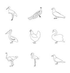 Bird set icons in outline style Big collection of vector