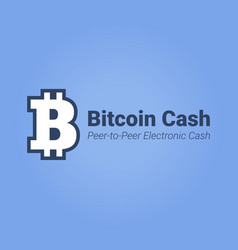 bitcoin cash flat icon with title isolated on blue vector image
