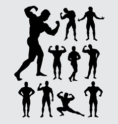 Bodybuilder muscular guy silhouettes vector