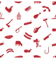 Butcher and meat shop icons seamless pattern eps10 vector