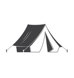 camping tent silhouette on white background vector image
