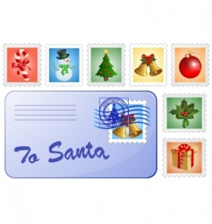 Christmas postcard and stamps vector image