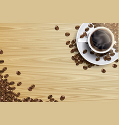 Coffee cup and coffee bean on the wooden table vector