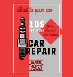 Color vintage car repair banner vector