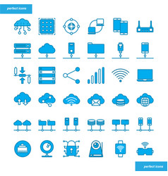 Computer networks and database blue icons set vector