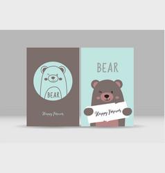 Cute card with hand drawn bear vector