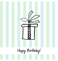 Cute stripped happy birthday card with present box vector