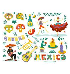 day dead mexico set vector image