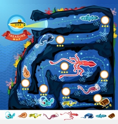 Deep Sea Exploration Treasure Game Map vector image