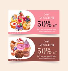 Dessert voucher design with custard cake cupcake vector
