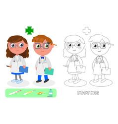 Doctors male and female vector