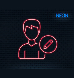edit user line icon male profile sign vector image