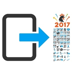 Exit Door Icon With 2017 Year Bonus Pictograms vector