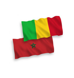 Flags mali and morocco on a white background vector