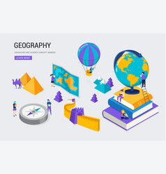 Geography class school college lesson isometric vector