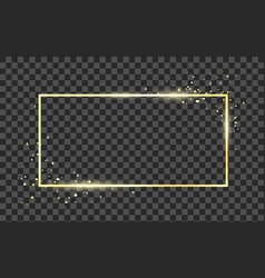 golden frame template with glitter effect vector image