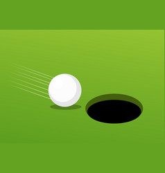 Golf ball go to hole success and risk concept vector