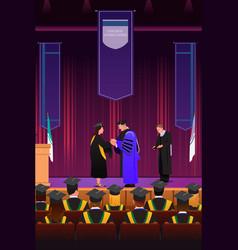 Graduation girl at podium vector