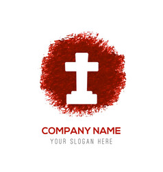 Halloween grave cross icon - red watercolor vector