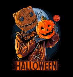 Halloween sack masked man carrying pumpkin vector
