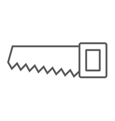 hand saw thin line icon tool and repair vector image