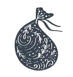 handdraw scandinavian christmas giftbag vector image