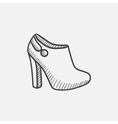 High-heeled ankle boot sketch icon vector image