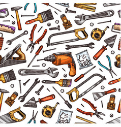 home repair work tools sketch seamless pattern vector image