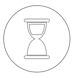 hourglass icon black color in circle or round vector image