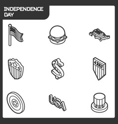 independence day outline isometric icons vector image