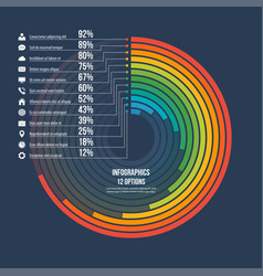 Informative infographic circle chart 12 options vector
