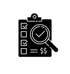 Inspection black glyph icon vector