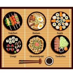 Japanese Cuisine Set Dishes Flat Style vector