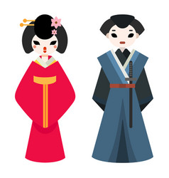 japanese man and woman folk art maiden character vector image