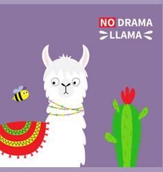 llama alpaca face bee cactus no drama childish vector image