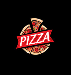 logo a sketched pizza on vector image