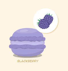 Macaroon with blackberrie taste vector