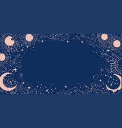 Magic blue background with moon and sun crescent vector