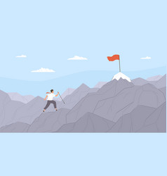 man travelling through mountain ridge to final vector image