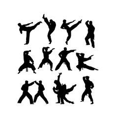 Martial art silhouettes vector
