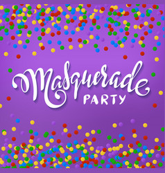 masquerade party banner white paper lettering vector image