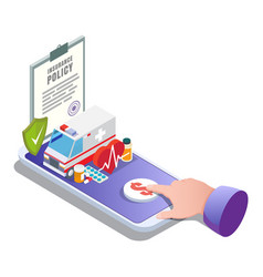 Medical insurance online flat isometric vector