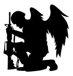 Military angel soldier with wings kneeling vector