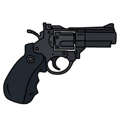 Modern black heavy short revolver vector